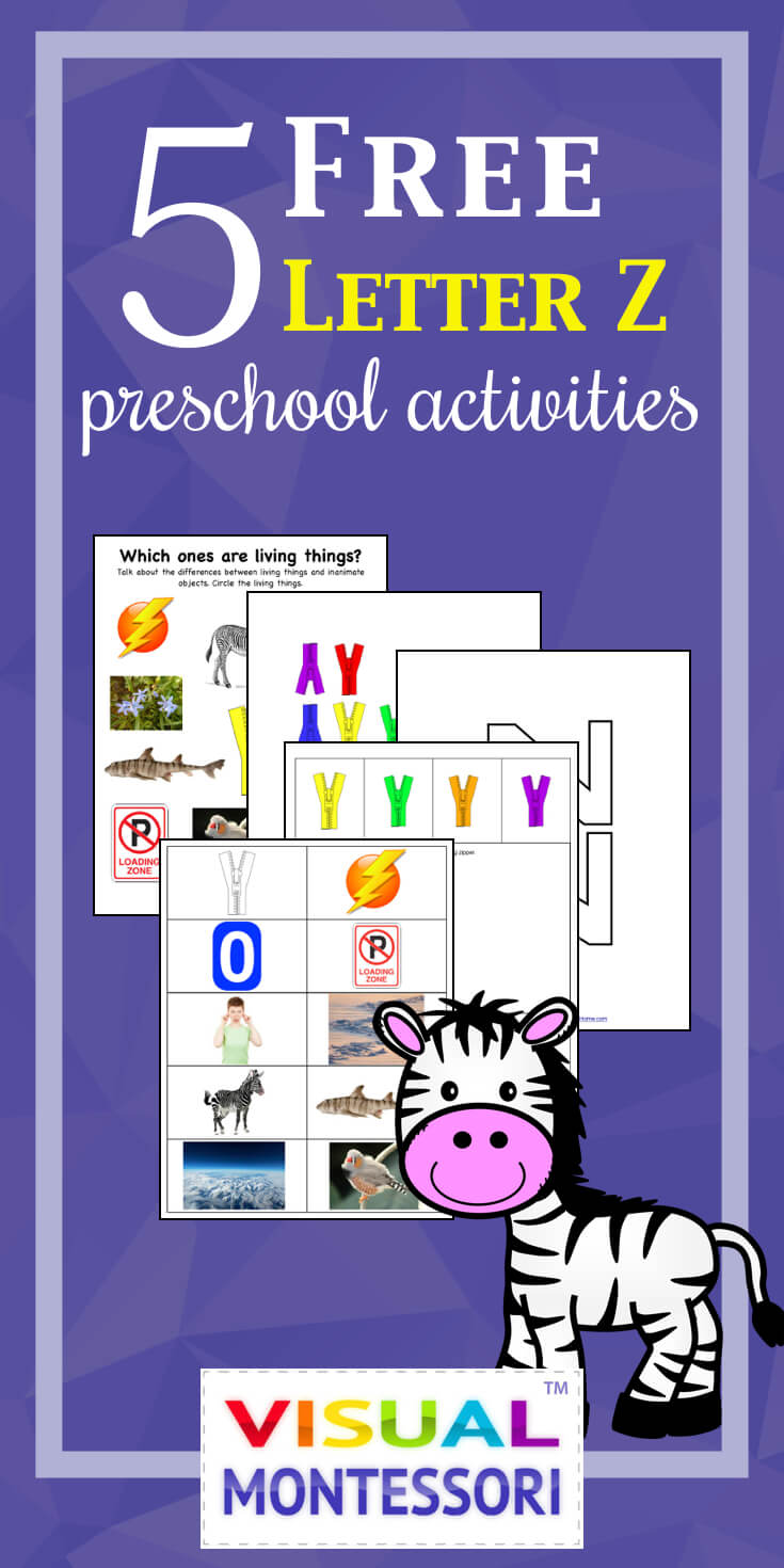 "My preschooler loves these! Perfect learning fun for preK. 5 Free Preschool Alphabet Letter Z Activities comes with coloring, matching, cutting, and fine motor skill exercises. You can easily teach children and toddlers with these easy crafts, cards, and words that start with ""Z""."