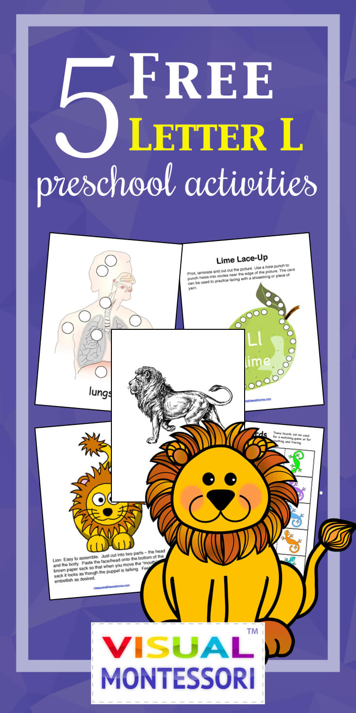 "My preschooler loves these! Perfect learning fun for preK. 5 Free Preschool Alphabet Letter L Activities comes with coloring, matching, cutting, and fine motor skill exercises. You can easily teach children and toddlers with these easy crafts, cards, and words that start with ""L""."