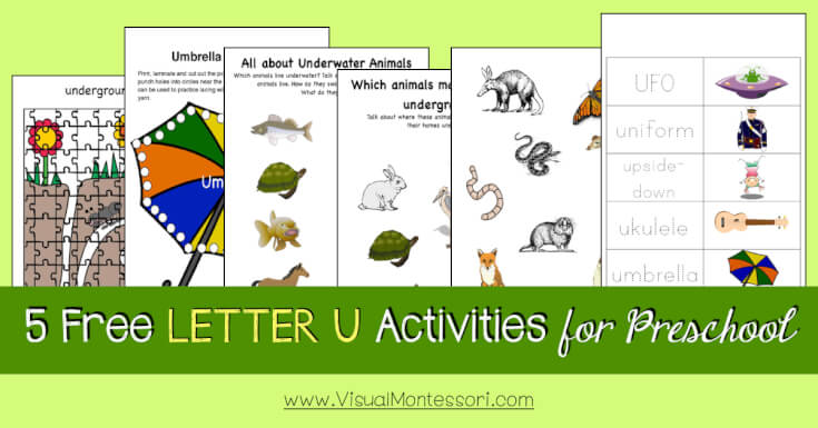5 FREE LETTER Activities for Preschool Alphabet Letter U