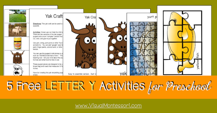 5 FREE LETTER Activities for Preschool Alphabet Letter Y