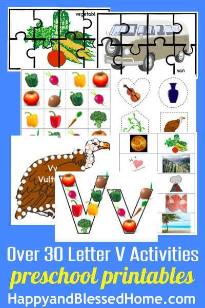 Preschool at Home with 30 Fun Preschool Alphabet Letter V Activities for PreK
