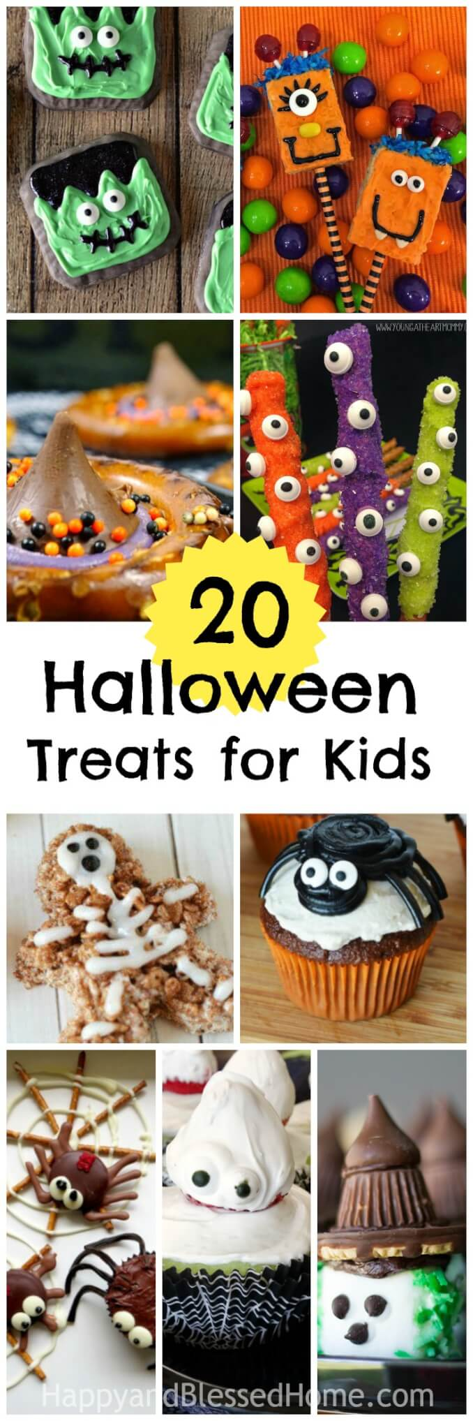 20 Sometimes Spooky Always Sweet Halloween Recipes for Kids - Perfect candies, snacks, and sweet treats for a school party, fall festival, or kids' Halloween Party. Fun and sweet!