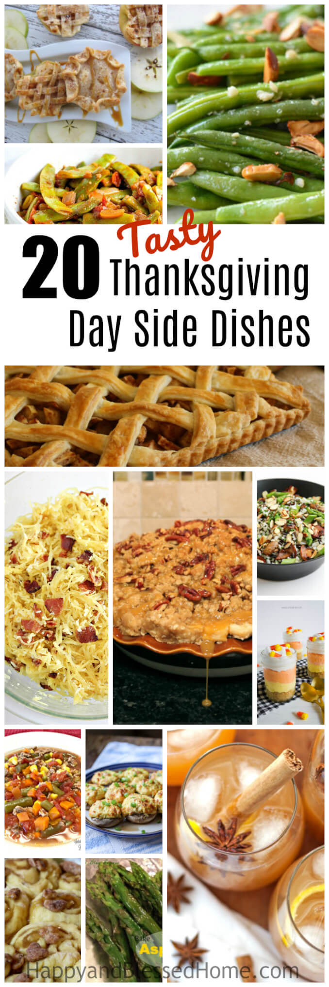 Don't get stuck in a Thanksgiving Day rut this year. Try something new! You'll love this list of 20 Tasty Thanksgiving Day Side Dishes including delicious recipes with apples, green beans, rice, stuffing, corn, and so much more.