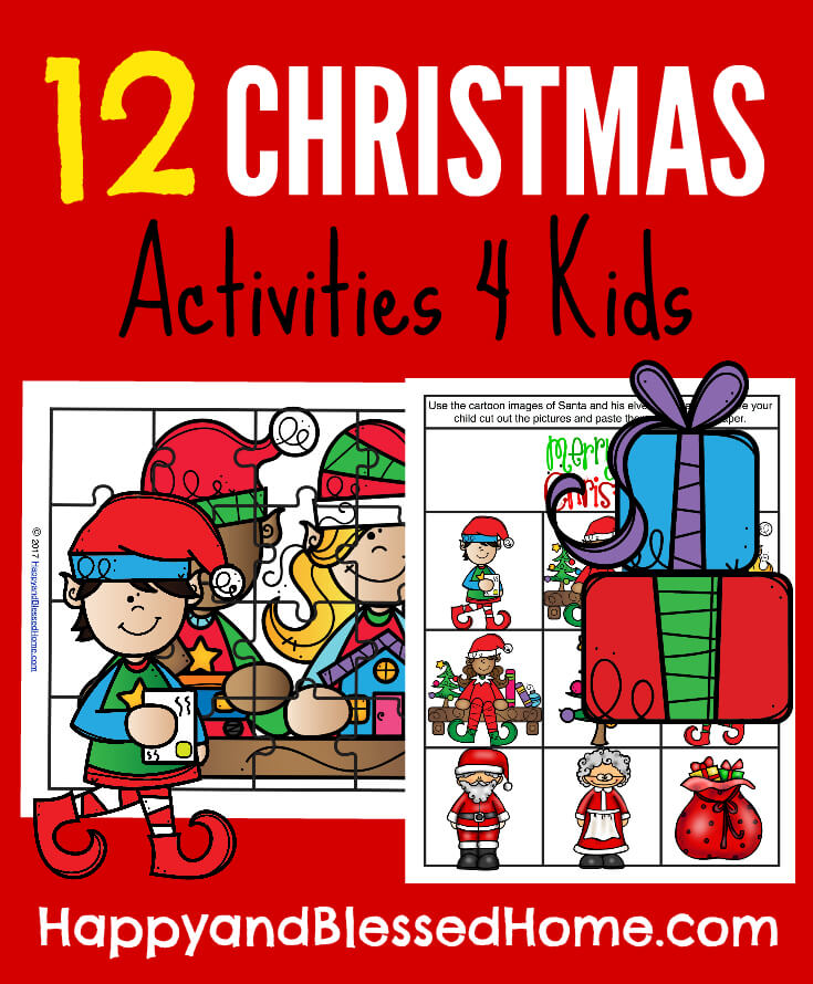 picture about Printable Christmas Activities named 12 Xmas Actions Printable Pack for Youngsters - Satisfied and