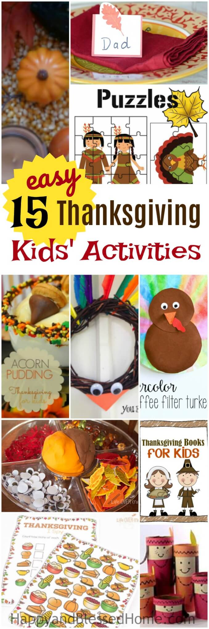 15 Easy Thanksgiving Kids Activities with craft free printables and sensory play