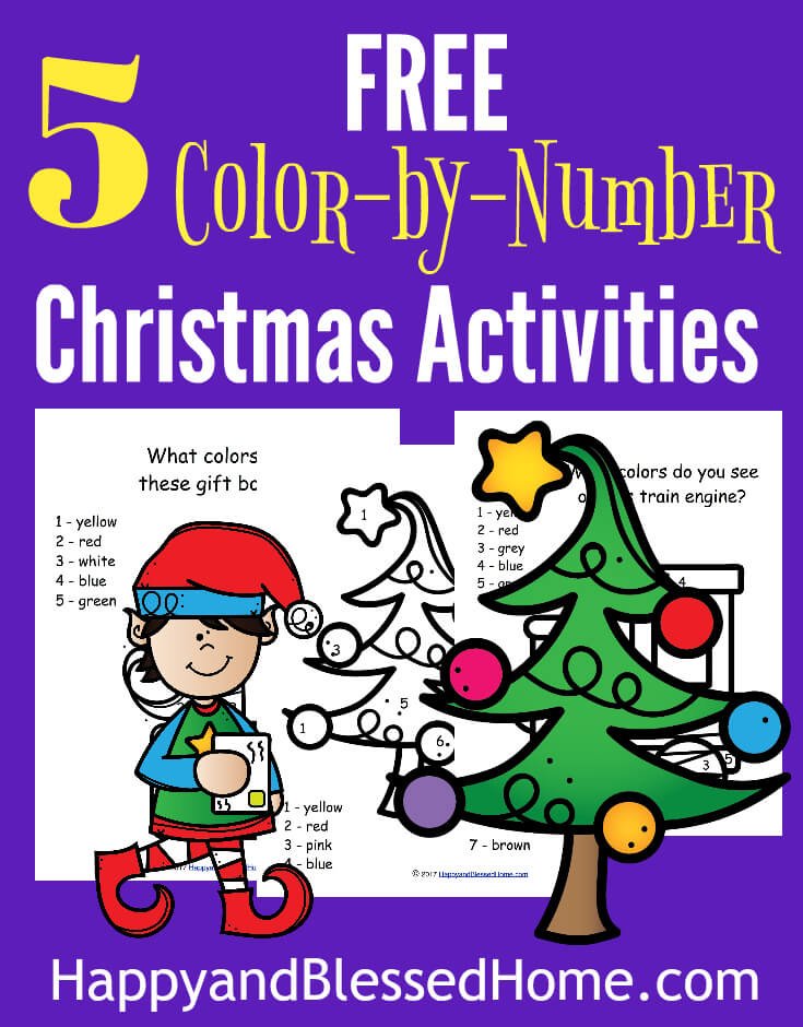 5 FREE Color by Number Christmas Activities