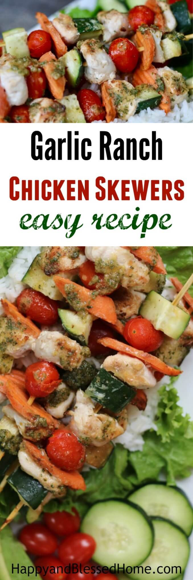 Even my kids love these! Garlic Ranch Chicken Skewers Easy Recipe