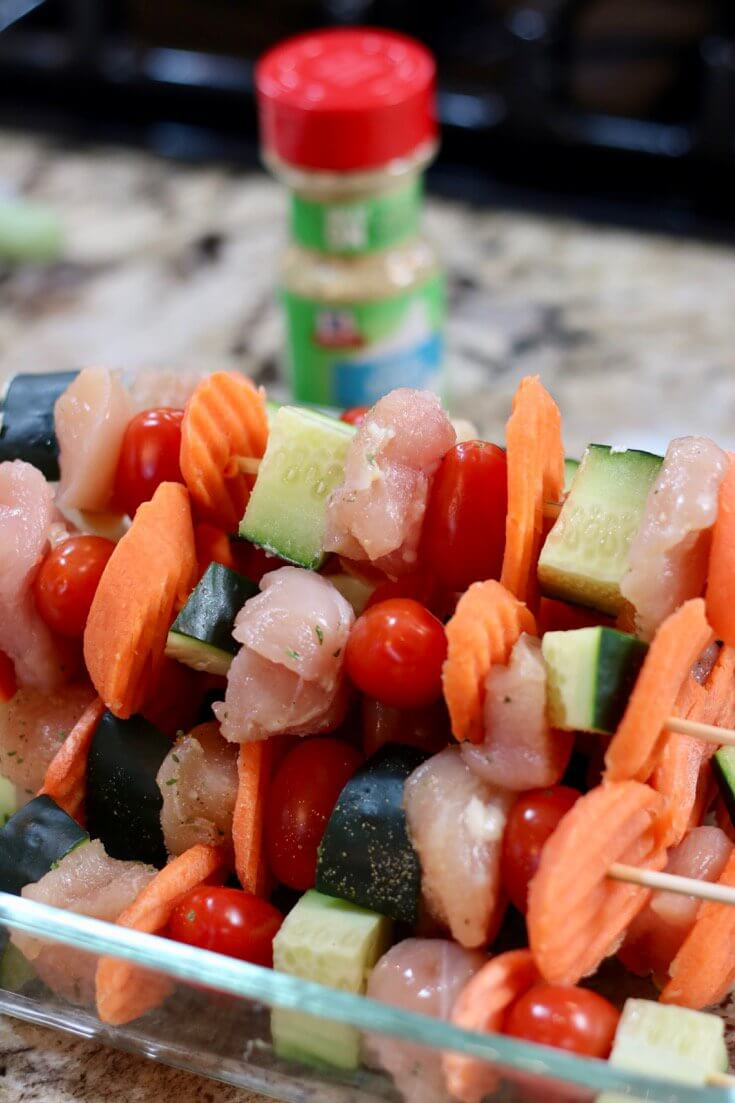 Garlic Ranch seasoning makes it easy to create this Easy Recipe Kid Friendly Garlic Ranch Chicken Skewers