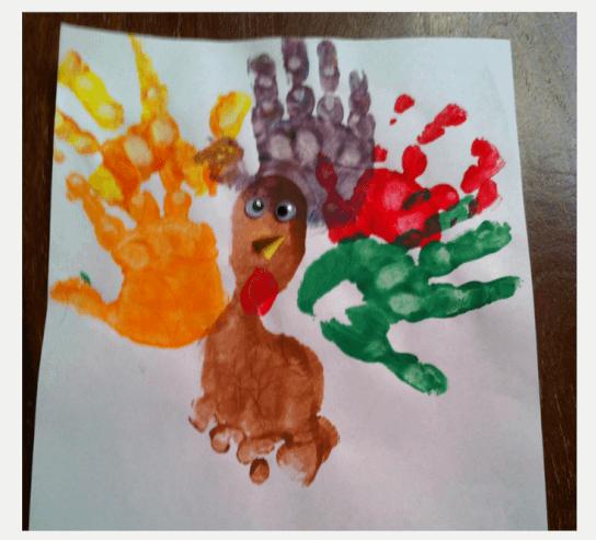 Thanksgiving Kids Activities - Hand print and foot print Thanksgiving Turkey