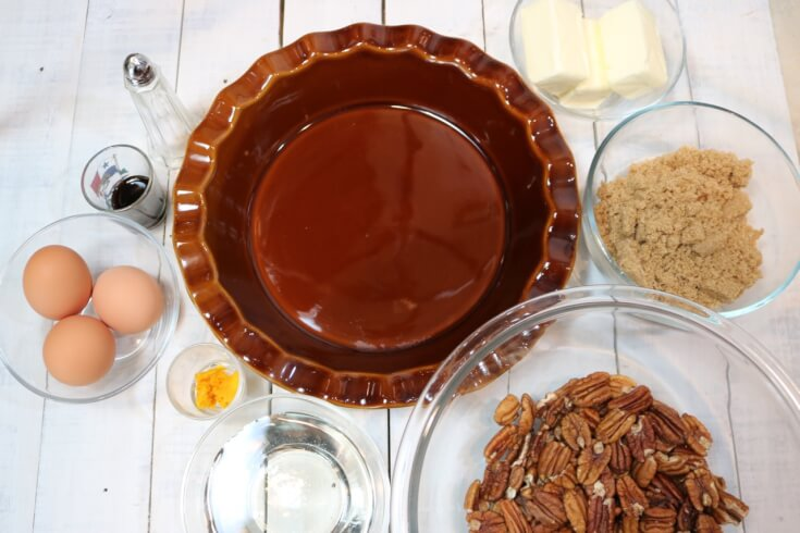 Ingredients for Southern Pecan Pie