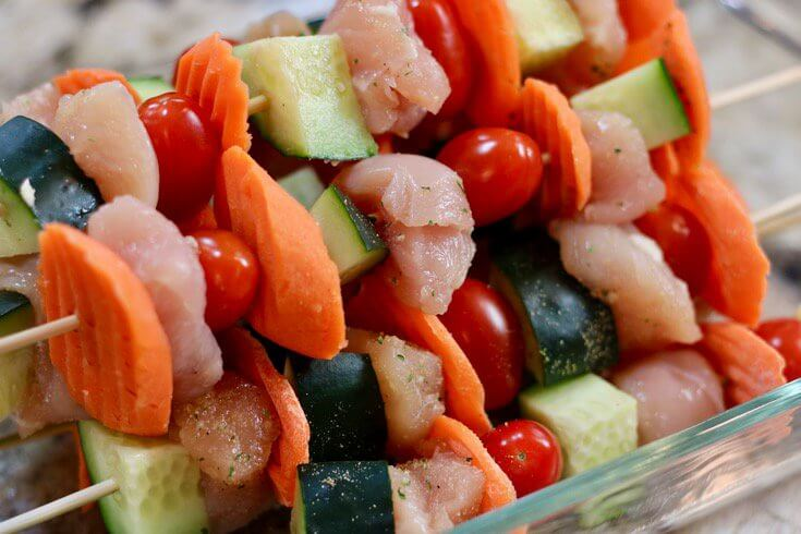 Piled high and ready to grill - Easy Recipe Kid Friendly Garlic Ranch Chicken Skewers