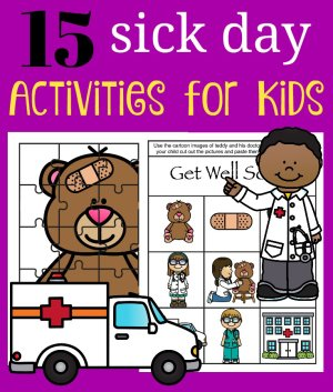 15 Sick Day Activities for Kids square graphic