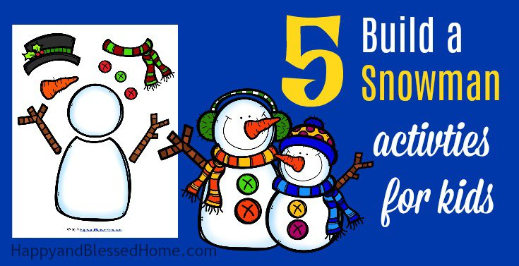 Keep reading to learn more about this FUN printable pack with 5 Build a Snowman Activities for Kids including puzzles and a DIY paper snowman craft.