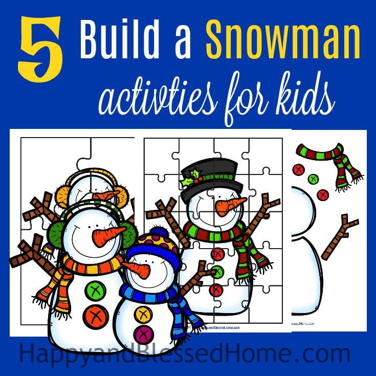 5 Build a Snowman Activities for Kids including puzzles and a DIY paper snowman craft