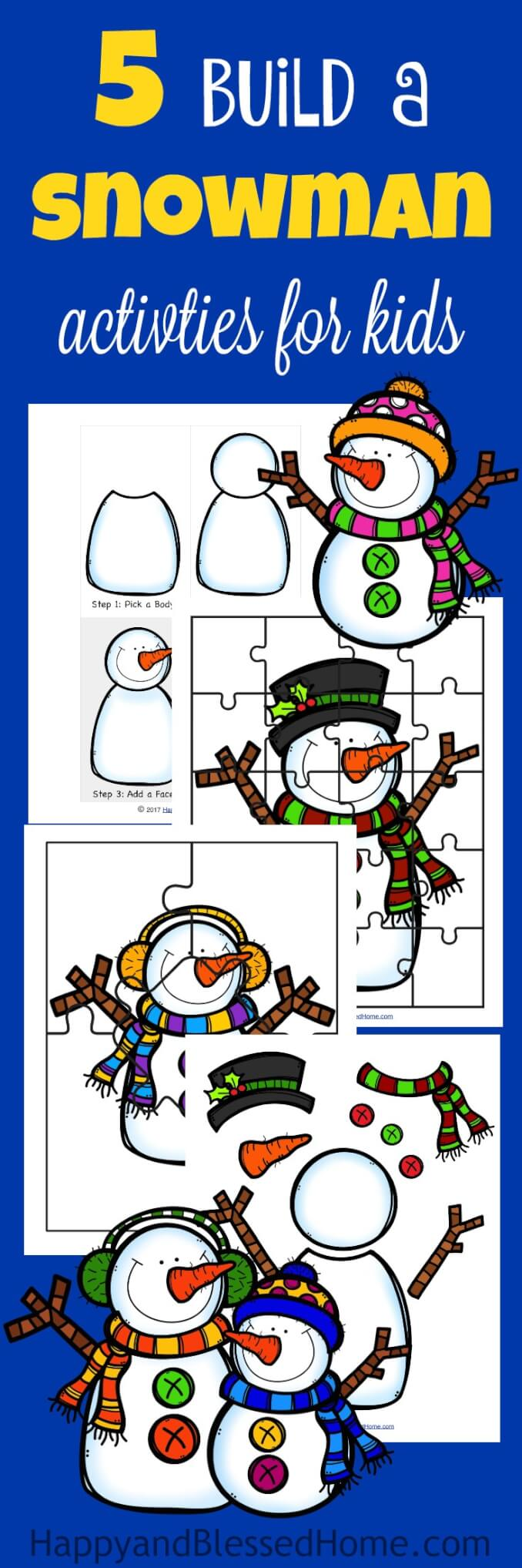 FREE Build a Snowman Activities from HappyandBlessedHome.com