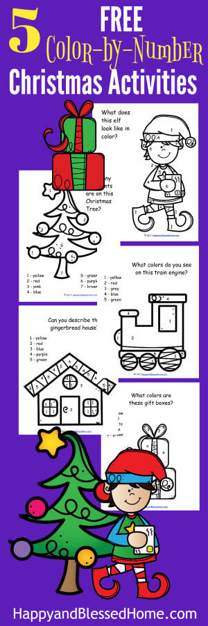 5 FREE Color by Number Christmas Activities for handwriting practice and early childhood education