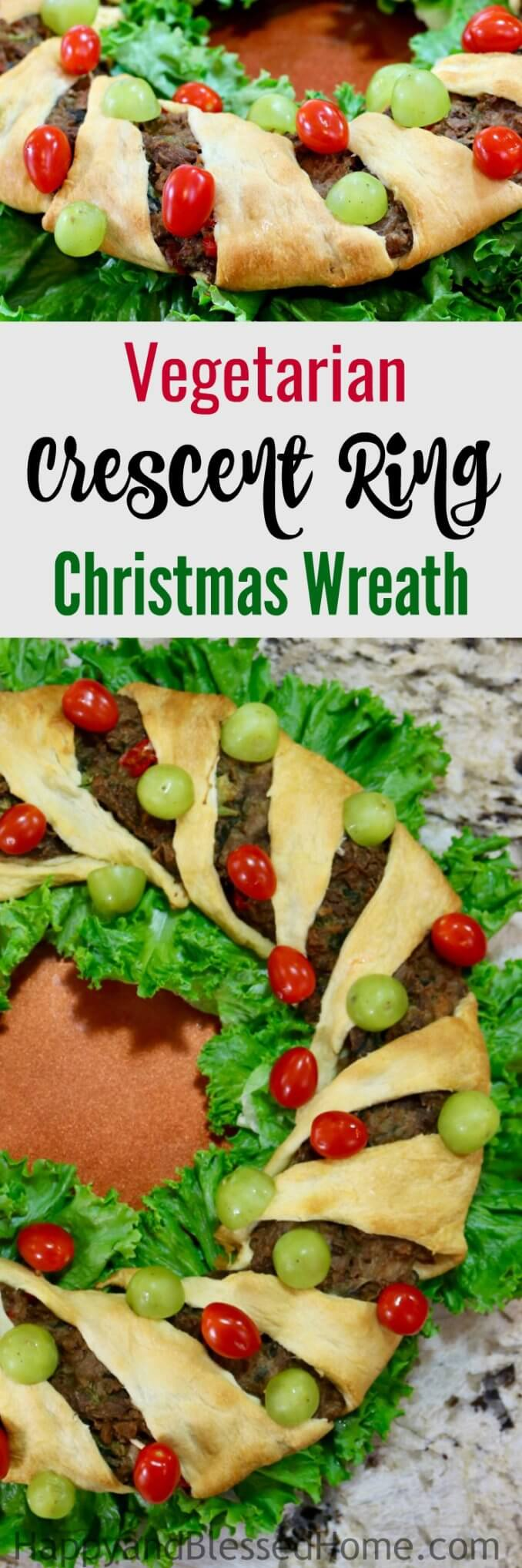 Easy Recipe Vegetarian Crescent Ring Christmas Wreath perfect for holiday entertaining
