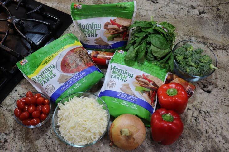 Ingredients for Easy Vegetarian Crescent Ring Recipe and Party Appetizer