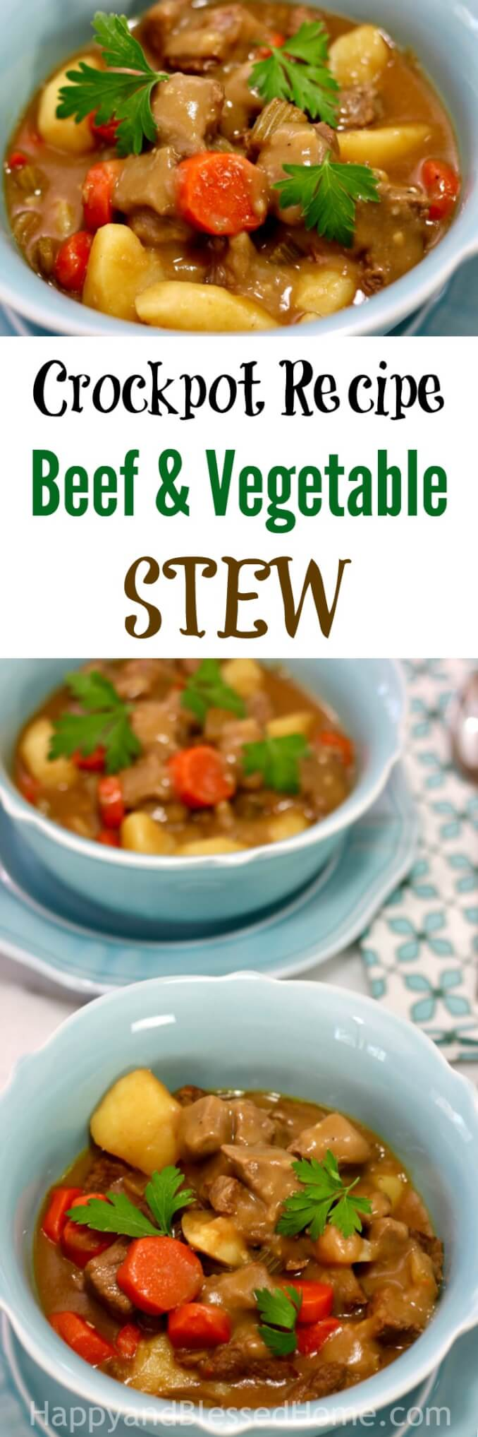 Easy Recipe for Slow Cooker Beef and Vegetable Stew. It's a one-pot meal you can set in your crockpot, leave all day, and come home to a great smelling kitchen and a fabulous dinner.