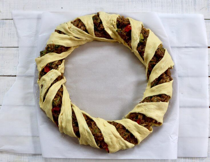 Wrap and tuck the edges to create this Easy Vegetarian Crescent Ring Recipe and Party Appetizer