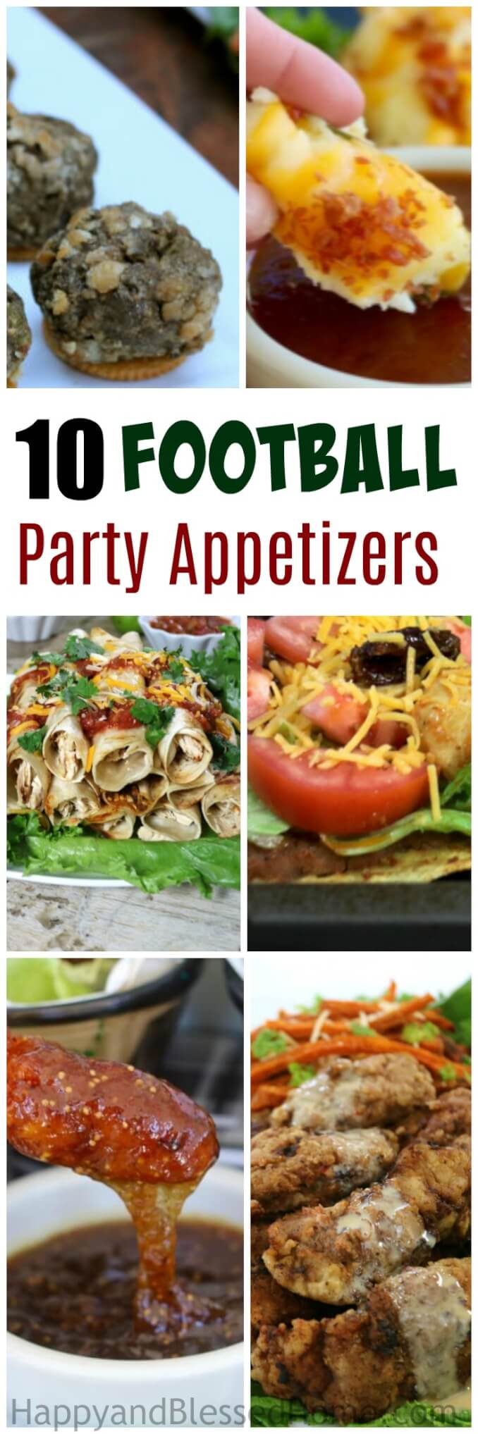 10 Football Party Appetizers including finger foods, dips, sauces and chocolate football pops. No wimpy appetizers, just add chips and beverages and you're set! Perfect football party food for the big game. Honestly, great for entertaining no matter the reason.