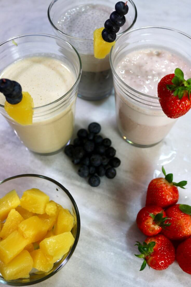 A trio of healthy breakfast options - 3 Easy Smoothie Recipes