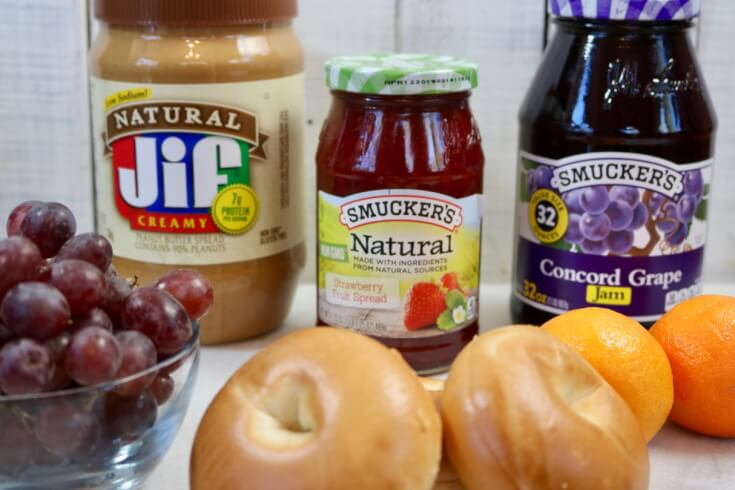 Easy Recipe - Peanut Butter and Jelly Bagel Sandwich Ingredients