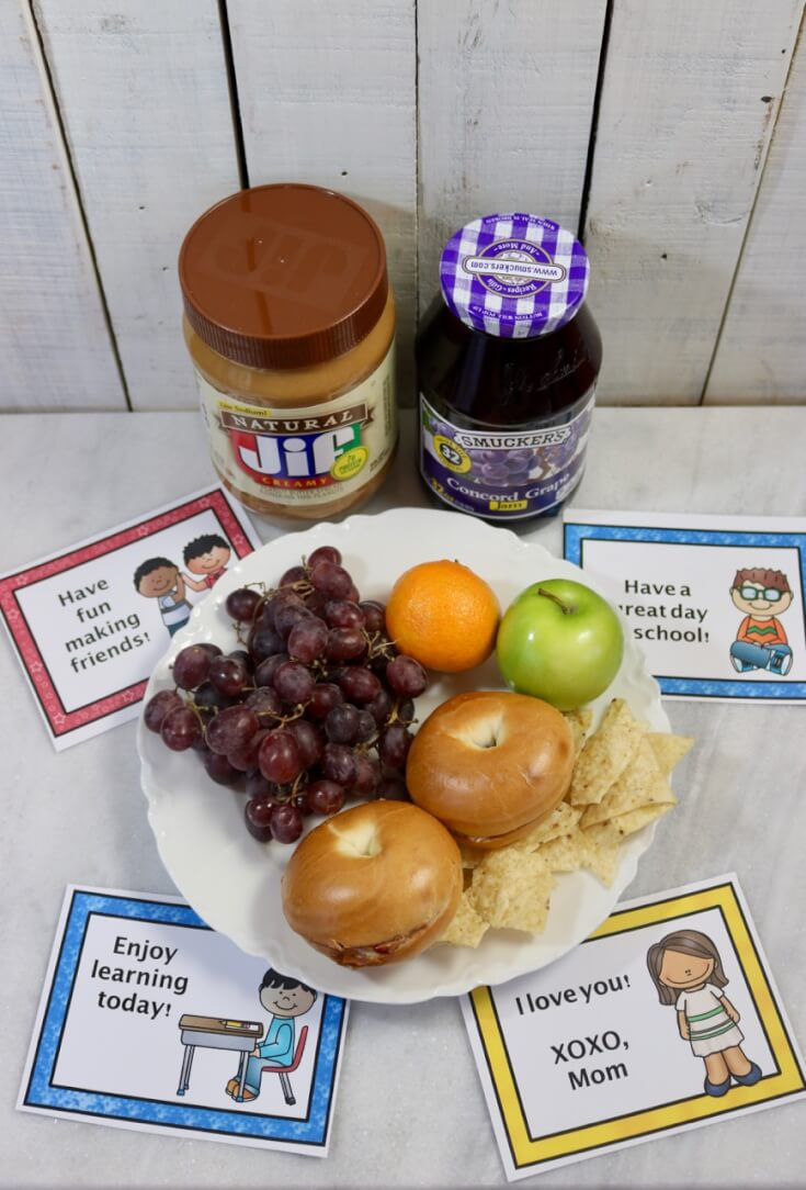 FREE Lunchbox Notes for Kids and a New Peanut Butter and Jelly Bagel Sandwich