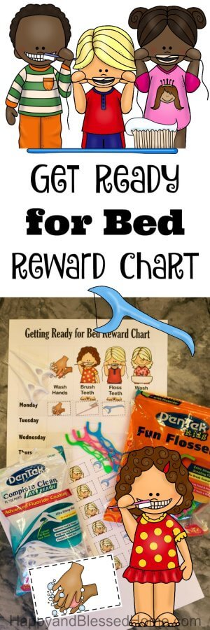 Get Ready for Bed Reward Chart with Stickers - Teach Kids to Brush and Floss Teeth
