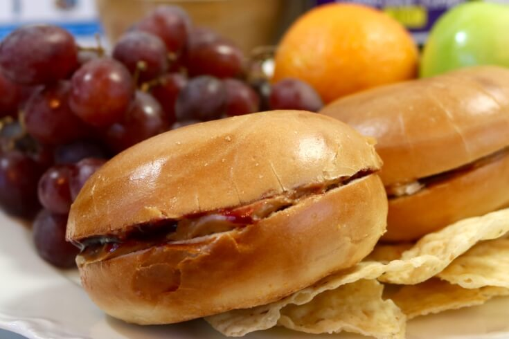 Peanut Butter and Jelly Bagel Sandwich