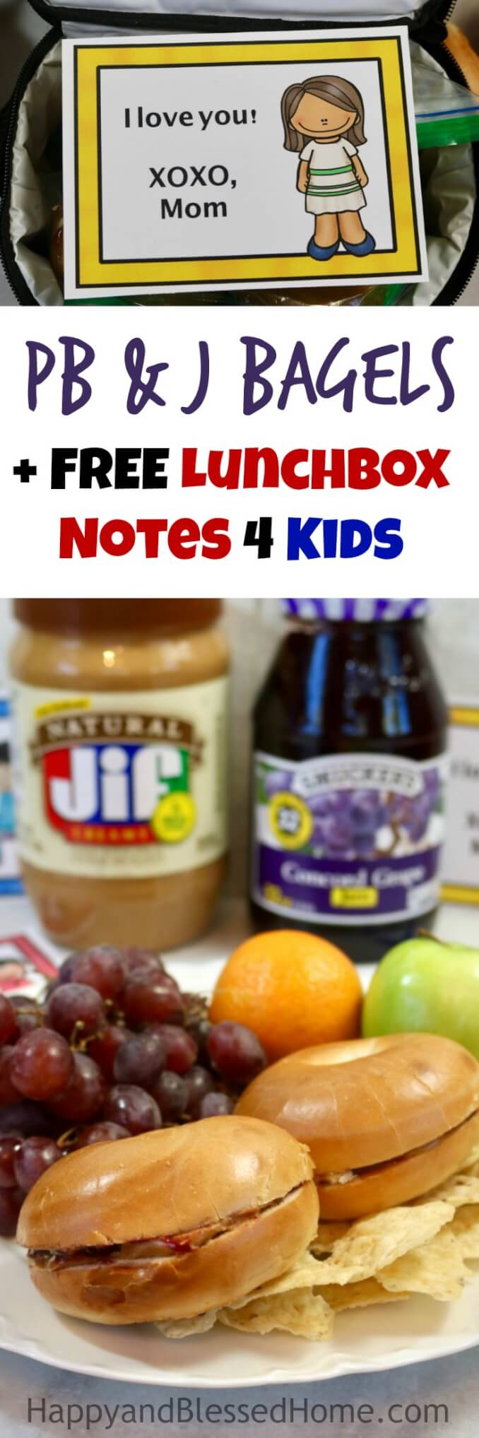 Peanut Butter and Jelly Bagel Sandwiches with 12 FREE Lunchbox Notes for Kids