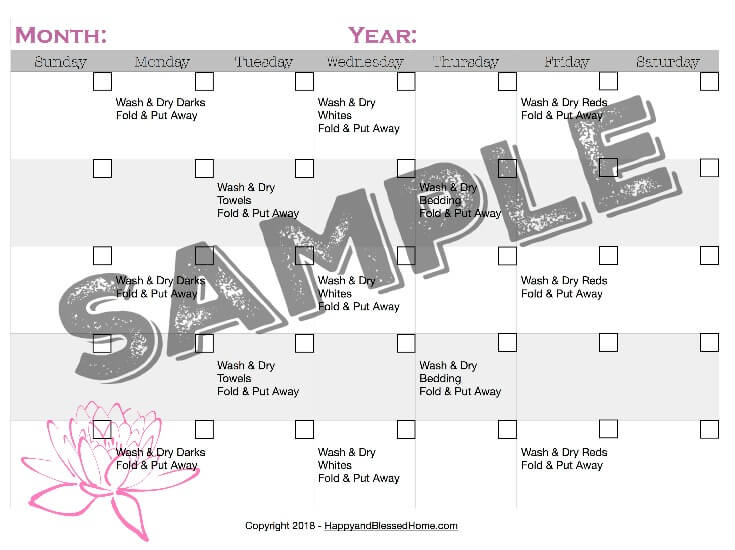 Sample Laundry Rotation Schedule