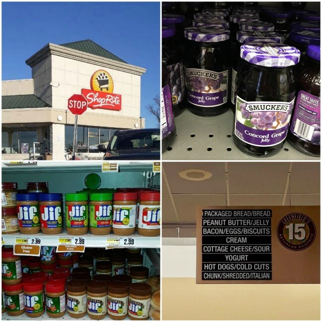 Stop by Shop Rite for Smucker's and Jif