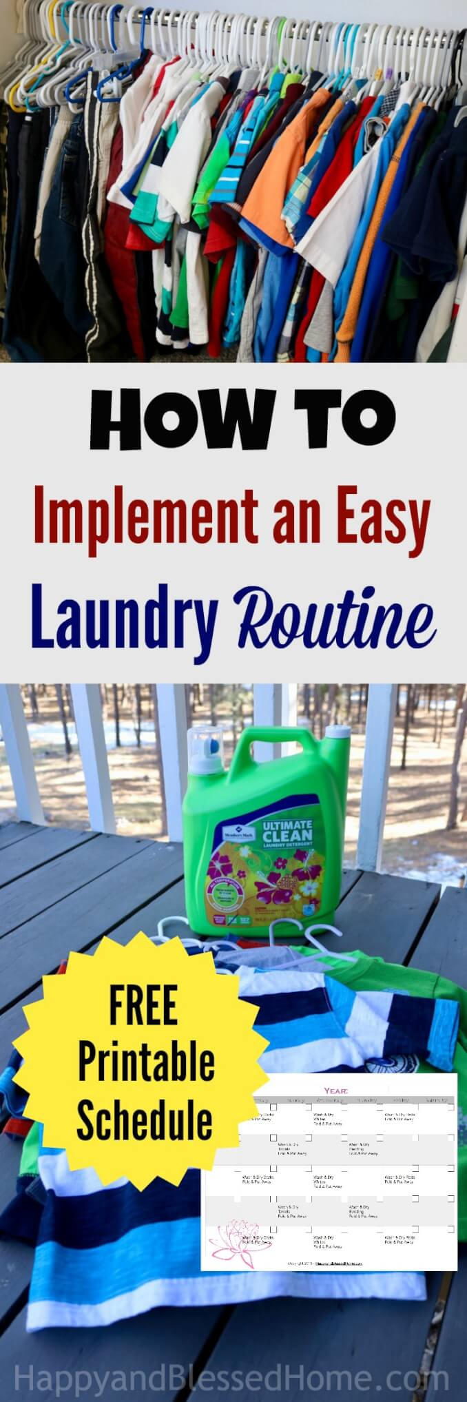"There is a way to implement an Easy-to-Folllow Laundry Routine. With tips and a FREE Printable Rotation Schedule, this article helps you get it organized. If you're feeling ""laundry overwhelm"" these tips and FREE printable laundry rotation chart are sure to help! Ad #MembersMarkDetergent"