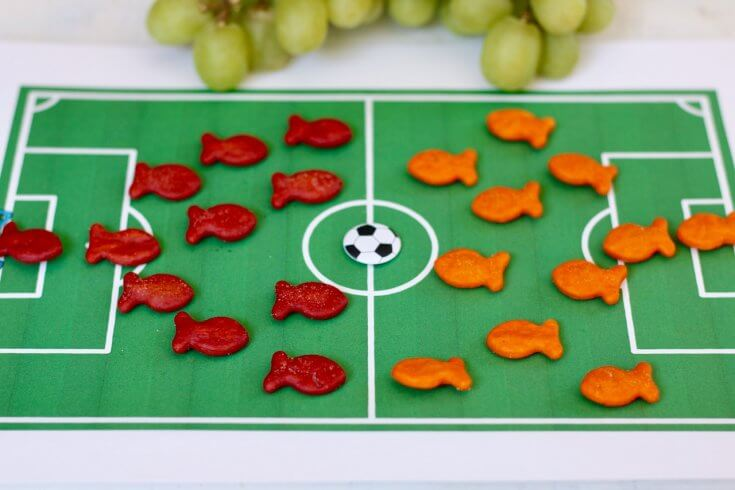 Use Goldfish Crackers to explain to kids how to play Soccer