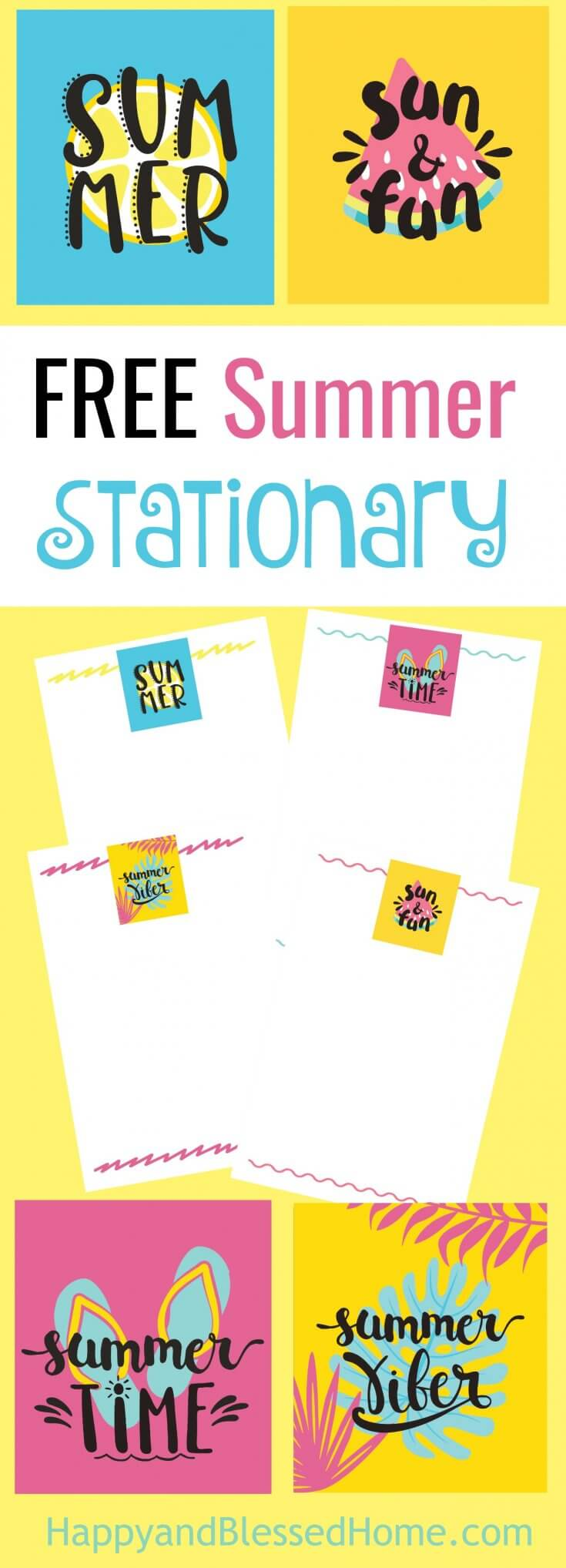 FREE Summer Stationary - 4 Desogns - Perfect for Journaling and Capturing Summer Memories