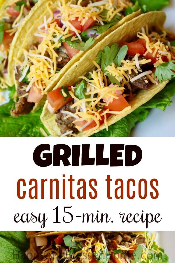 Easy 15 Minute Recipe for Grilled Carnitas Tacos - a Mexican family favorite