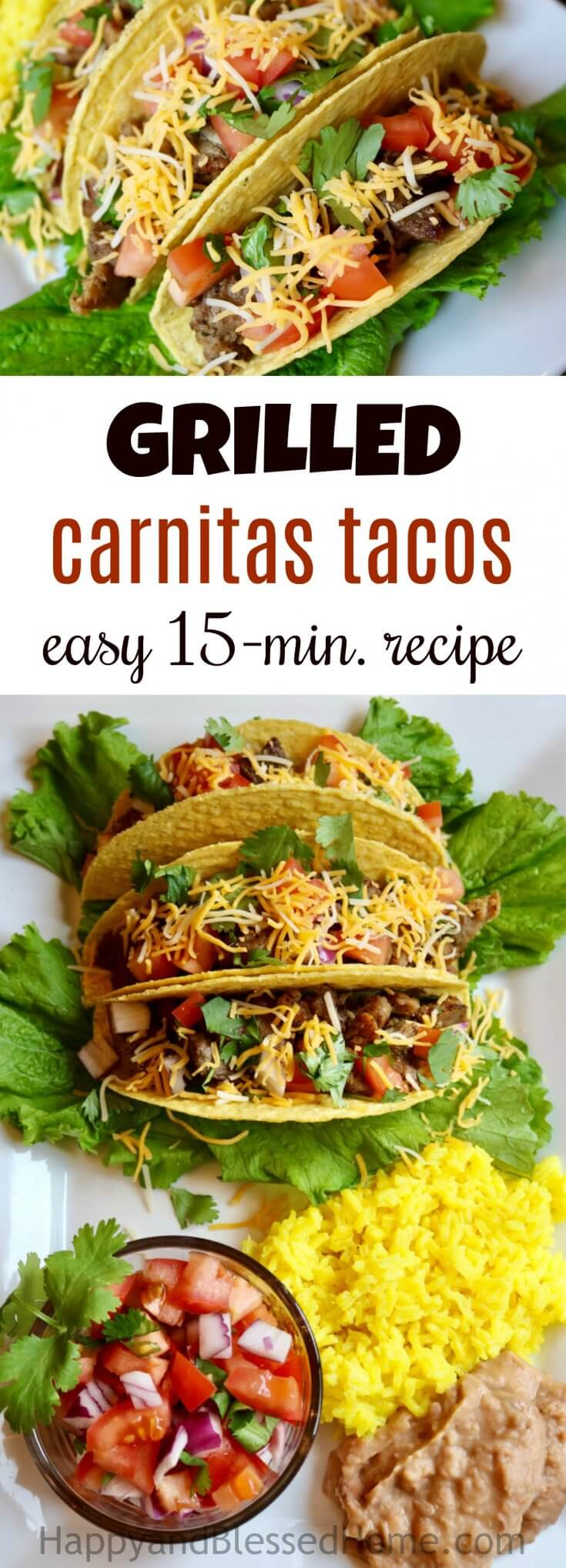 Grilled Carnitas Tacos - easy 15 minute recipe for a tasty Mexican dinner