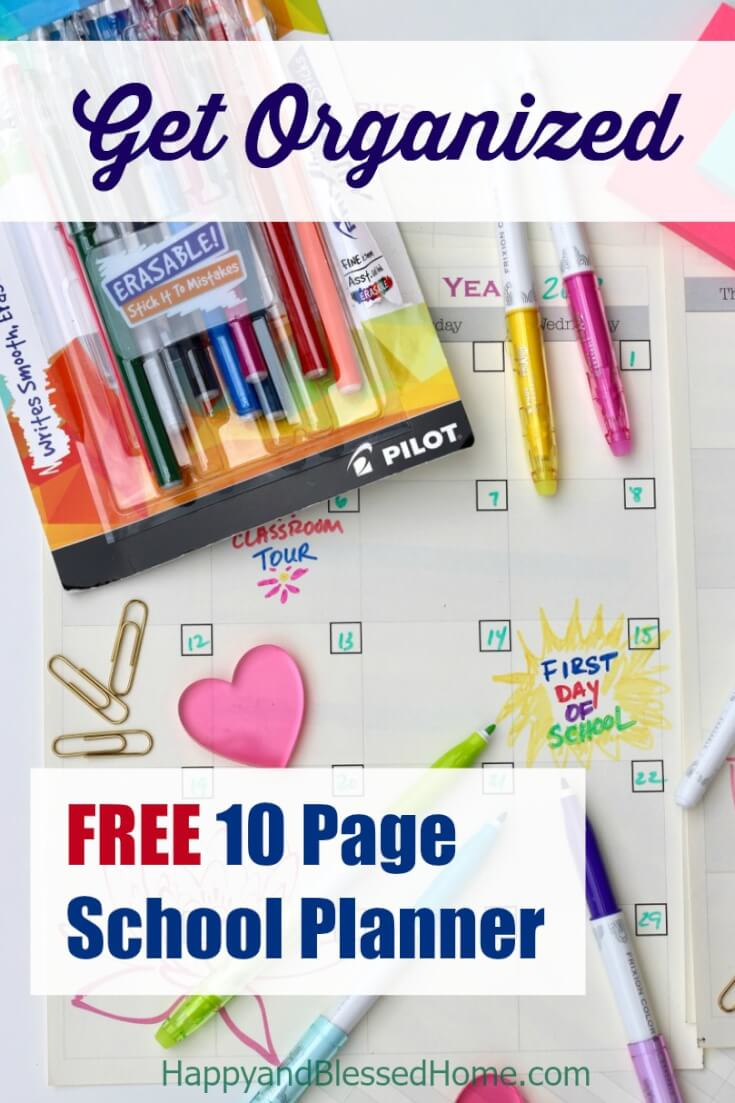 FREE 10 Page School #Planner to Help You Get #Organized - A #school planner to keep track of important dates like the first day of school, testing, & breaks - perfect for #teachers, #moms, and #students.