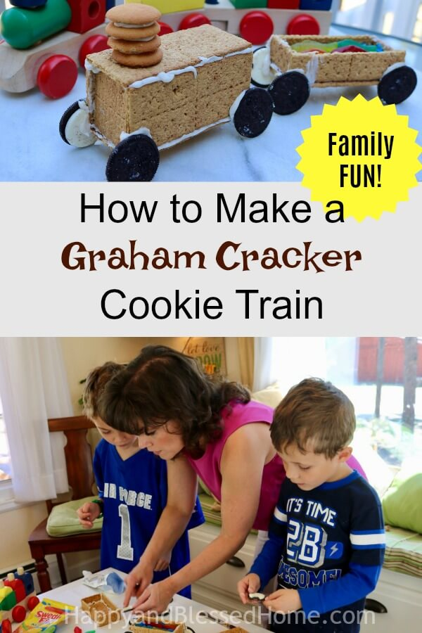 How to Make a Graham Cracker Cookie Train Recipe - A Family Fun Activity for Moms Dads and Kids