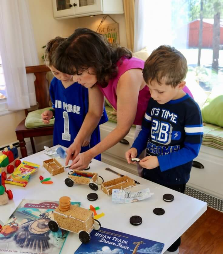 Showing the boys How to Make a Graham Cracker Cookie Train Recipe
