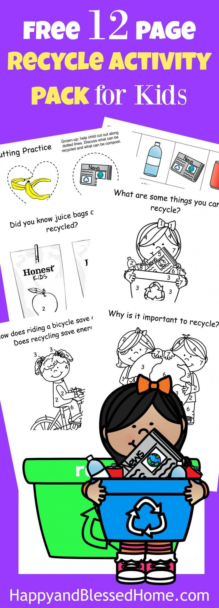 FREE 12 PAGE RECYCLE ACTIVITY PACK FOR KIDS with Coloring Pages