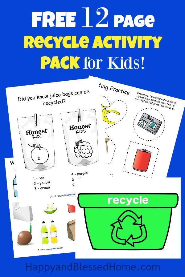 FREE 12 Page Recycle Activity Pack for Kids with Coloring Sheets and Fun Learning Activities