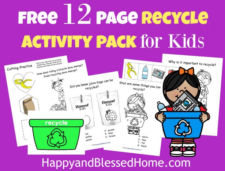 FREE 12 Page Recycle Activity Pack for Kids with an easy recycle activity