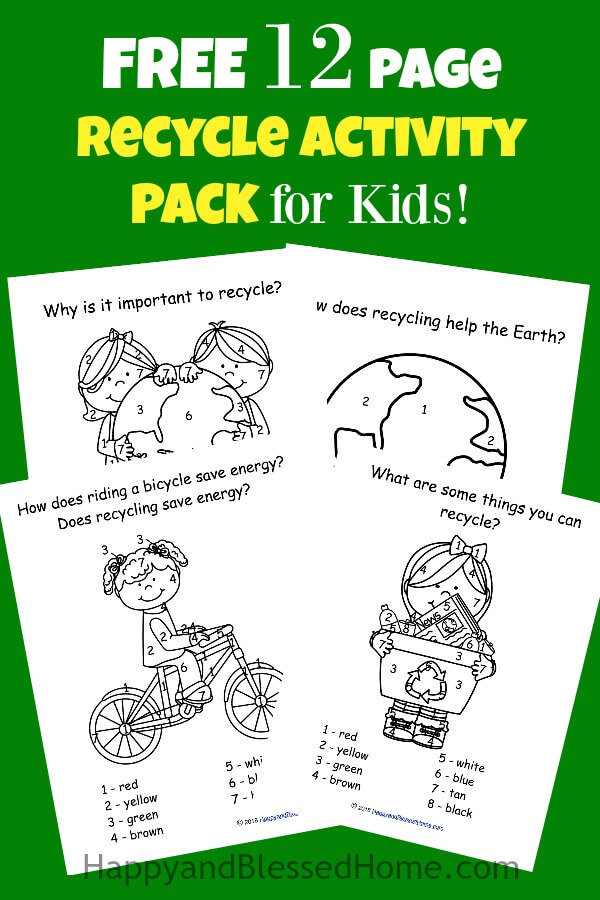 FREE 12 Page Recycle Activity Pack for Kids