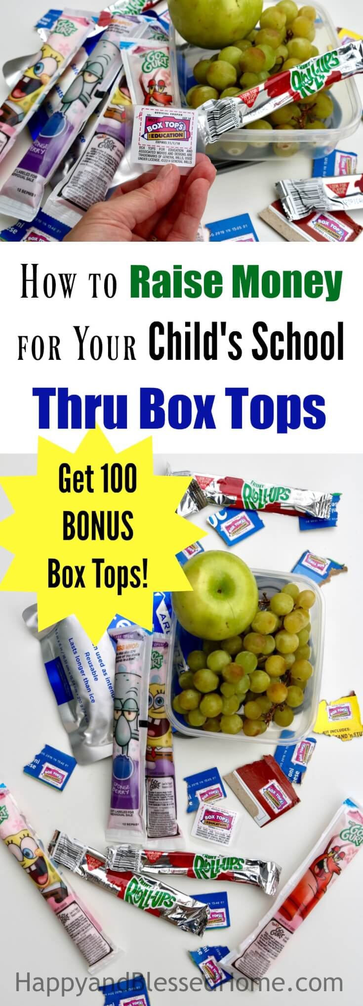 How to Raise Money for Your Child's School Through Box Tops with tips for parents on how to save on school snacks AND get access to 100 Bonus Box Tops!