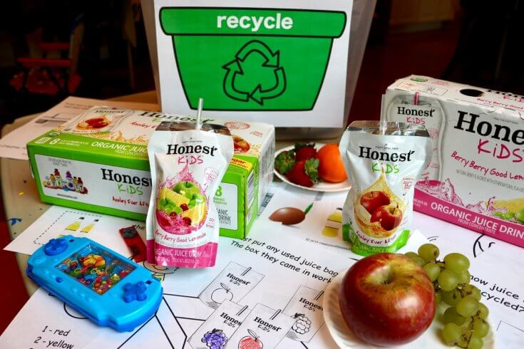 Snacks and sips with 12 Page Recycle Activity Pack for Kids with Recycling Tips for Parents