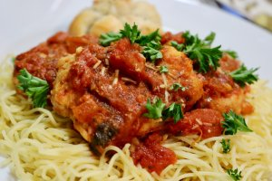 Easy Chicken Bruschetta Recipe served with Angel Hair Pasta