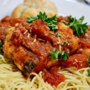 Easy Chicken Bruschetta Recipe served with Angel Hair Pasta