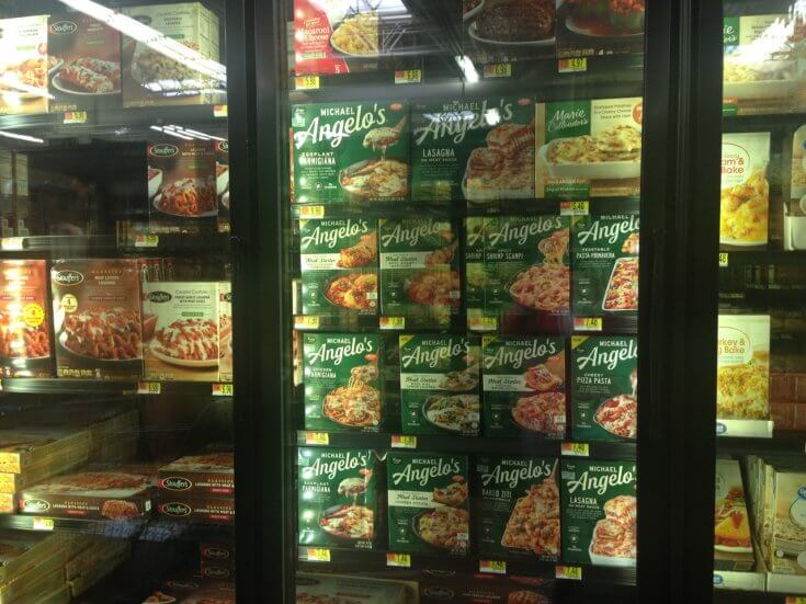 You can pick up Michael Angelo's Meals in the Frozen Food Section at Walmart